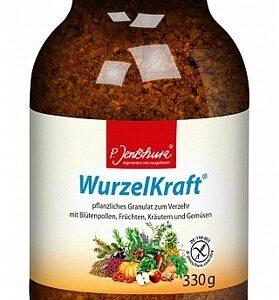 Produktbild von WurzelKraft. Das Granulat ist in einer braunen durchsichtigen Dose mit schwarzem Deckel. Auf dem Etikett sind verschiedene Gemüse, das Jentschura Logo und die Produktbeschreibung abgebildet.