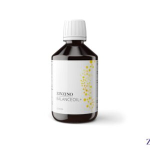 Produktbild von Zinzino Balance Oil Plus. Die Braunglasflasche hat einen weissen Plastikdeckel. Auf dem weissen Etikett sind in gelber Farbe Punkte mit Strichen zu Molekülen verbunden.