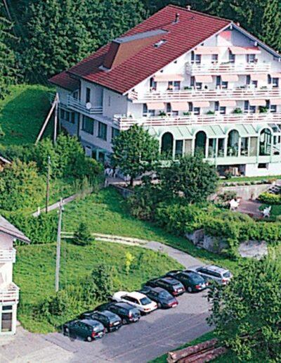 Zwei Hauser sind am Hang am Waldrand. Rund herum ist Wiese und eine Strasse die zu den Häusern führt.