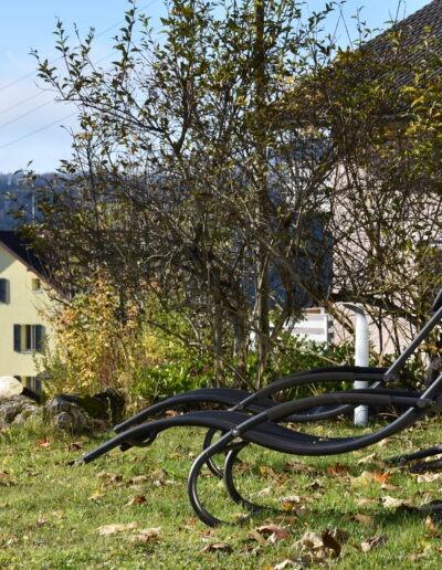 Zwei schwarze Sonnenliegen von der Seite auf einer Wiese. Dahinter sind kleine Bäume und Büsche und weiter hinten ein gelbes Haus.