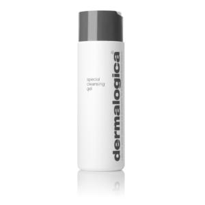 Eine weisse Flasche special cleansing gel von Dermalogica mit dunkelgrauem Deckel.