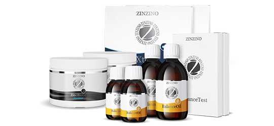 Eine Zusammenstellung von verschiedenen Zinzino Produkten. Darunter sind vier Schachteln Xtend, zwei Dosen ZinoBiotic und zwei grosse und zwei kleine Flaschen BalanceOil.